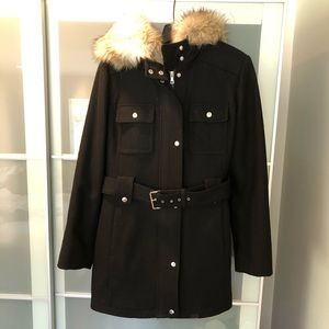Esprit wool blend black trench coat with hood